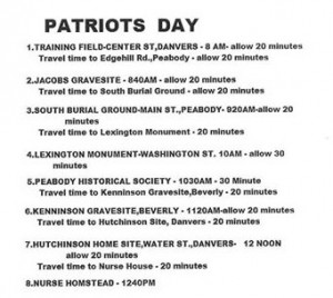 Patriots Day Schedule